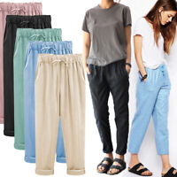 Women Elastic Waist Drawstring Harem Ankle-Length Pants Cotton Linen Trousers