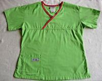 Urbane Scrubs XS Extra Small Nursing Uniform Top Green Pink Trim V Neck