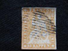 Svizzera: 1854-55 Emerald SILK Threads medio carta spessa 20 R Arancione Pallido