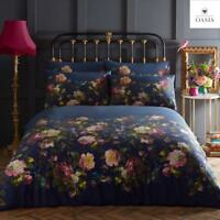 OASIS RENAISSANCE Navy Vintage Roses & Kingfisher Birds Duvet Cover Bedding Set