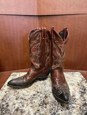 VTG WOMENS CODE WEST INLAY COWBOY BLACK/BROWN/RED BOOTS SIZE 8.5 M Lightly Worn