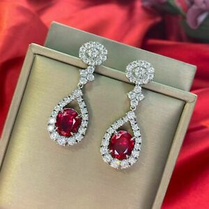 4 Ct Oval Halo Red Ruby & Moissanite Drop Dangle Earrings 14K White Gold Finish