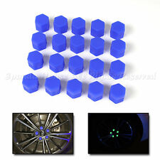 21MM QUALITY GLOW IN THE DARK BLACKLIGHT WHEEL RIM LUG NUTS COVERS CAPS TOP BLUE