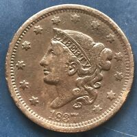 1837 Large Cent Coronet Head One Cent 1c Better Grade #9091