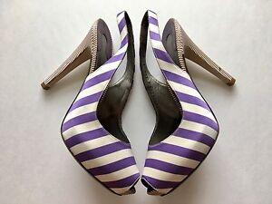 $995 SALVATORE FERRAGAMO Fioretto Purple White Satin Leather Peep Toe Slingback