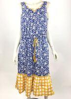 Matilda Jane Blue Ridge Dress Floral Sleeveless Cotton Elastic Waist Women M NWT