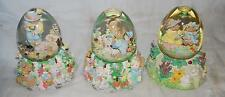 "6"" LOT OF 3 MERCURIES 1994 EASTER MUSICAL SNOWGLOBES"