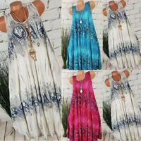 Women Loose Floral Gyspy Sleeveless Swing Dress Lagenlook Summer Casual Sundress