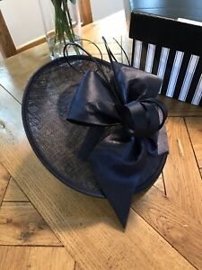 Ladies Occasion Wedding Hat, Navy, 'Maddox', With Headband, Boxed