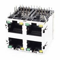 RJ45 8P8C 8LED 4Port 2x2 Shield PCB Mount Jack Connector Cat5e Ethernet Adapter