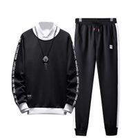 Men's Gym Tracksuit Hooded Jacket Sweater Pants 2Pcs Suit Jogging Set 2019