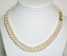 & 14ct gold double strand necklace Vintage Aaa 6-6.5mm Akoya saltwater pearl