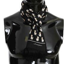 DOLCE & GABBANA Scarf Black Labrador Print Silk Mens Shawl 16cmx140cm RRP $300