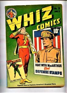 WHIZ Fawcet comic #31  Captain marvel  Golden Age Classic WWII patriotic cvr  *