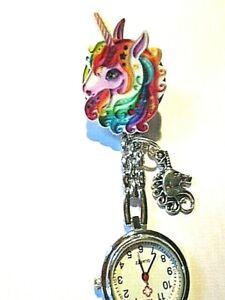 Unicorn Nurse Watch Rainbow Silver Charm Watch Clip on Brooch Fantasy UK Seller