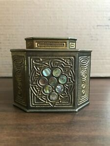 TIFFANY STUDIOS, ABALONE INKWELL WITH GLASS  AGED PATINA BEAUTIFUL CONDITION