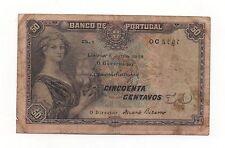 PORTUGAL PORTUGUESE 50 CENTAVOS 1918 PICK 112A SERIE EM LINHA IN LINE LOOK SCANS