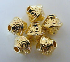 100pcs 7x6mm Metal Alloy Bicone Spacers - Bright Gold