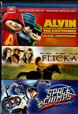 NEW  3DVD - ALVIN & the CHIPMUNKS + FLICKA + SPACE CHIMPS - CHILDREN TRIPLE FEAT