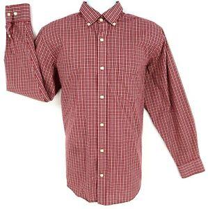Cherokee Dress Shirt Mens Size L Red White Plaid Button Down Collar Long Sleeve