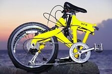 Downtube 9FS Yellow Full Suspension Folding Bike 9 speed ( 27speed compatable )
