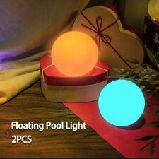More details for 2pcs led floating pool ball bathtub night light pond lamp hot tub up ball light