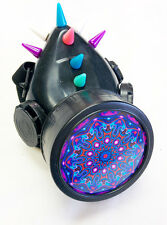 Cyber Punk Industrial Goth Rave Gas Mask Respirator Spikes Mandala Single #32984