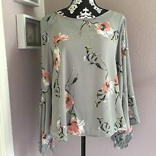 NEW Womens Soprano Grey Floral Boho Bell Sleeve Blouse Size XL