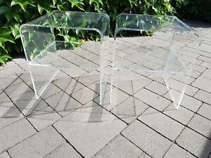 2 Acrylglas- /Beistelltische 70er Jahre,  gebraucht, transparent, 37x40x45 cm
