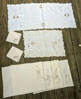 Vintage Lot 8 Placemats Napkins Runner Embroidered Cut Work Lace Table Linens