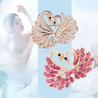 Rhinestone Swan Crystals Sweet Wedding Heart Jewelry Brooch Pearl Gold Plated