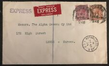 1934 London England Express Mail Commercial Cover To Lewes