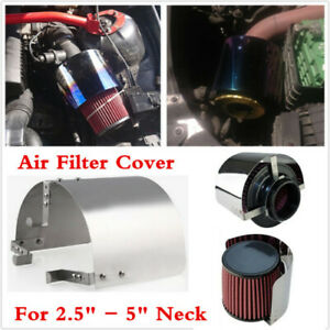 "Stainless Steel Heat Shield 2.5""-5.5""Cone Filter Cold Air Intake For Car Racing"