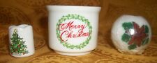 """Set of 2 Collectible Ceramic/Porcelain """"holders """" & 1 wax Candle"""
