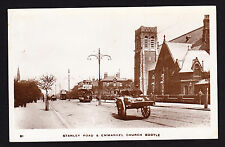 More details for real photo postcard rppc stanley road & emmanuel church bootle l20 street view