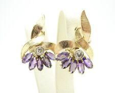 Vintage Diamant Amethyst Ohrstecker 585 Gold 14 Karat Brillant Ohrringe 8,7 Gr