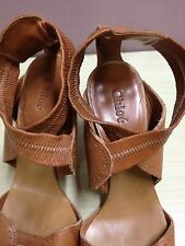 ausm REPRICED AUTHENTIC CHLOE LEATHER SANDALS BROWN