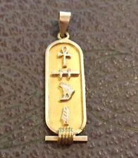 14K Gold Egyptian Cartouche Hieroglyph Necklace Pendant VGC