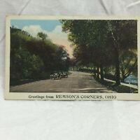 Vtg Postcard Greetings from Remson's Corners Ohio Miller Art Co. co 1928 Remsons