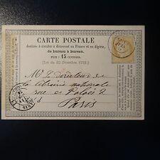 CÉRÈS N°59 SUR CARTE CP PRÉCURSEUR LETTRE COVER CAD COMPIÈGNE POUR PARIS