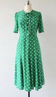 New LK Bennett Polka Dot Green Dress Sz UK 8 10 12 14