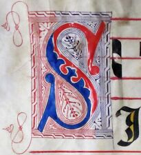 Huge deco. Antiphonary Manuscript Lf.Vellum, Fancy S initial,c.1500