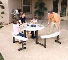 "Lifetime 44"" Round Picnic Table w/ Swivel Benches Umbrella Hole NEW!"