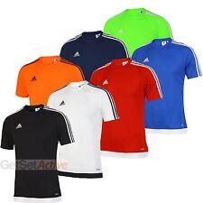 adidas Mens Estro 15 climalite Crew Training T-Shirt Black White Red Blue Tee