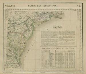 Amér Sep Parties des États-Unis #51 USA Mid-Atlantic coast VANDERMAELEN 1827 map