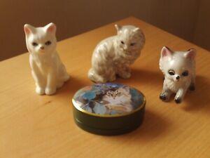 Vintage X3 Small Porcelain Cat Figurines & Tin.