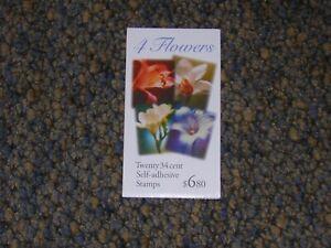 BK284 3490b-d 34 cent Flowers booklet of 20
