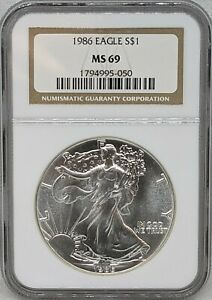 1986 Silver American Eagle NGC MS69