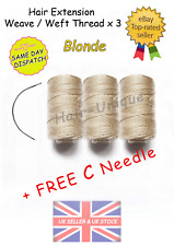 HAIR EXTENSIONS WEAVE / WEFT THREAD x 3 & 1 Free C Needle UK Stock Blonde