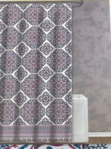 Lotus and Fay Fabric Shower Curtain with 12 Metal Hooks - Plum